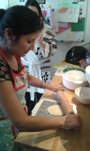 Rolling out Indian bread