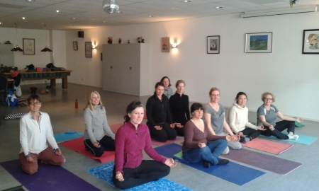 "A group of very ""zen"" members after the yoga workshop!"